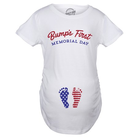 0027e86bfc080 Maternity Bumps First Memorial Day Pregnancy Tshirt Funny Patriotic Tee For  Baby Bump