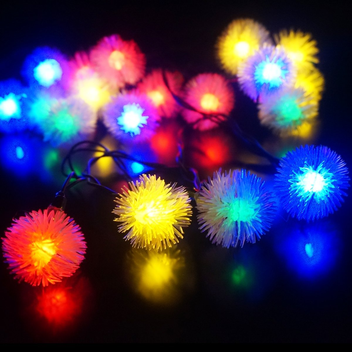 Qedertek LED Solar Lights Fairy Chuzzle Ball 23ft 50 LED Decorative Lighting for Home,Lawn,Garden,Wedding,Patio,Party,and Holiday Decorations( Multicolor)