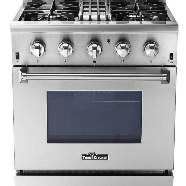 """Thor Kitchen 30"""" Professional Free Standing Dual Fuel Range, Stainless Steel"""
