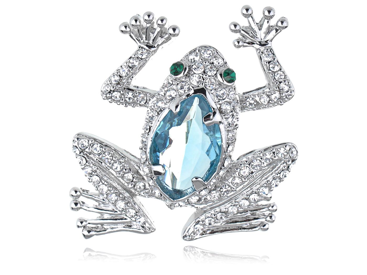 Blue Cat Eye Aquamarine Crystal Rhinestone Frog Animal Fashion Jewel Pin Brooch by