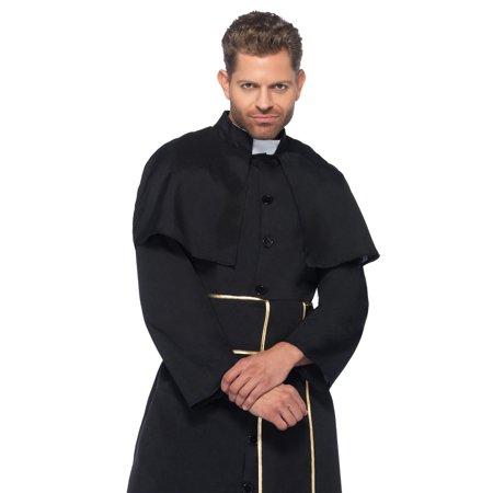 Leg Avenue Men's 2 Piece Priest Costume, Black, - Priests Costumes