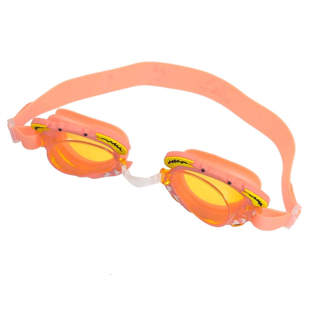 Unique Bargains Unique Bargains Child Kids Clear Orange Lens Adjustable Strap Swimming Goggles w Earplugs by