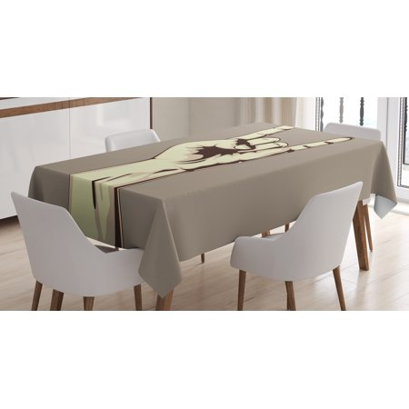 Rock Music Tablecloth, Devil Sign Vintage Symbol Illustration Hand Gesture Abstract Musical Elements, Rectangular Table Cover for Dining Room Kitchen, 60 X 84 Inches, Taupe Ivory, by (Devils Table)