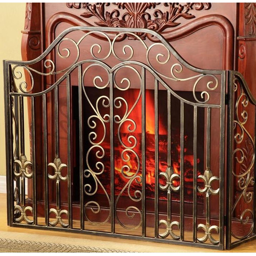Classic Fleur De Lis Wrought Iron Fireplace Screen