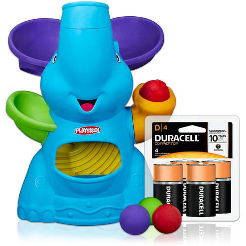 Playskool Poppin' Park Elefun Busy Ball Popper with Duracell Coppertop Batteries Value Bundle