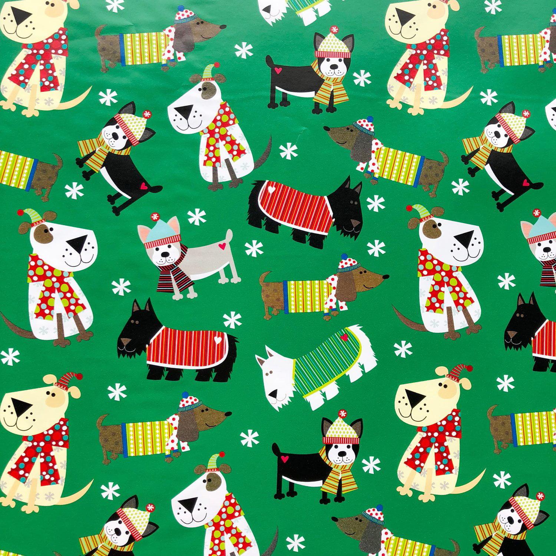 Jillson & Roberts Gift Wrap, Christmas Dog (6 Jumbo Rolls 10ft x 30in)