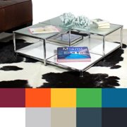 SYSTEM4 Prestigious Elite Steel and Glass Coffee Table or Accent Table SYSTEM4 Coffee or End Table - TRAFFIC YELLOW