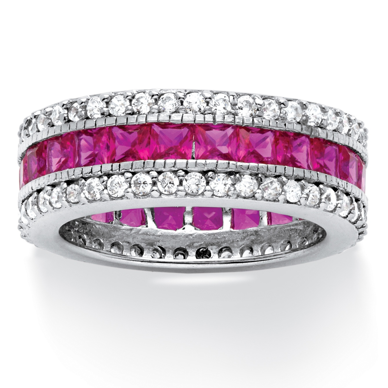 10.83 TCW Princess-Cut Lab Created Ruby Eternity Ring in Platinum over Sterling Silver