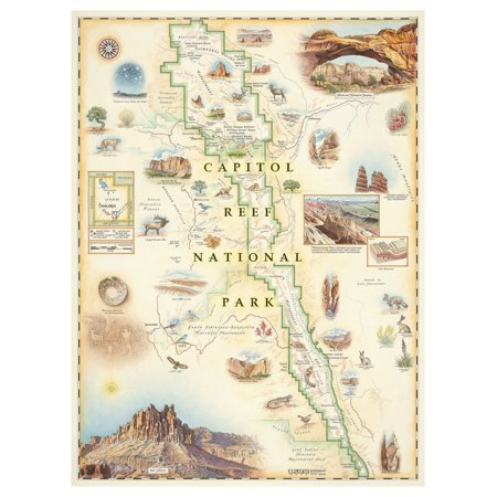 "Capitol Reef National Park, Utah Hand-Drawn, Antique-Style Map (9"" x 12"") by Artist Chris Robitaille."