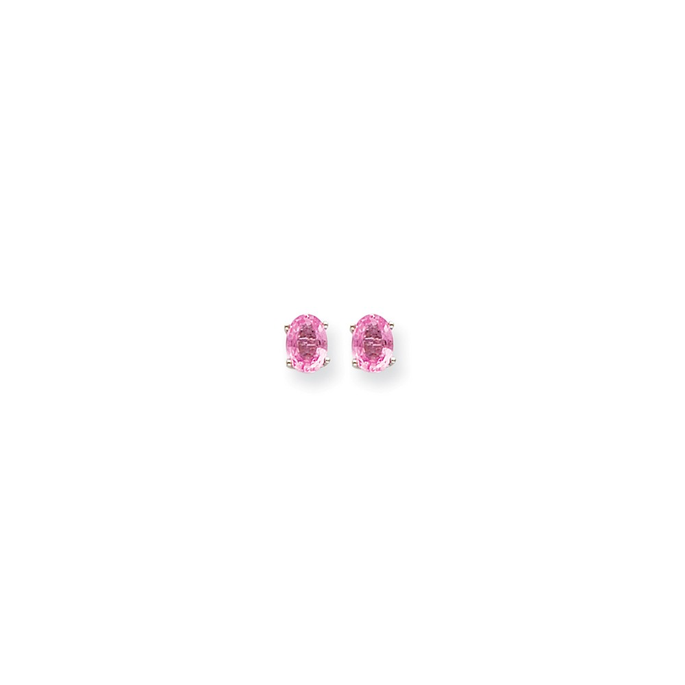 14K White Gold Pink Sapphire Earrings (7mm x 5mm) by
