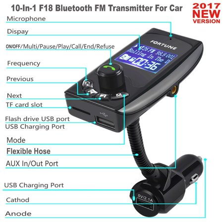 10 In 1 F18 In-Car Bluetooth FM Transmitter Radio Adapter Car Kit With ON OFF Switch Dual USB Chargers Transmits TF Card USB Drive iPhone Samsung Pixel's Song Call Google Navigation To Car Speaker 10 Transmitter Kit