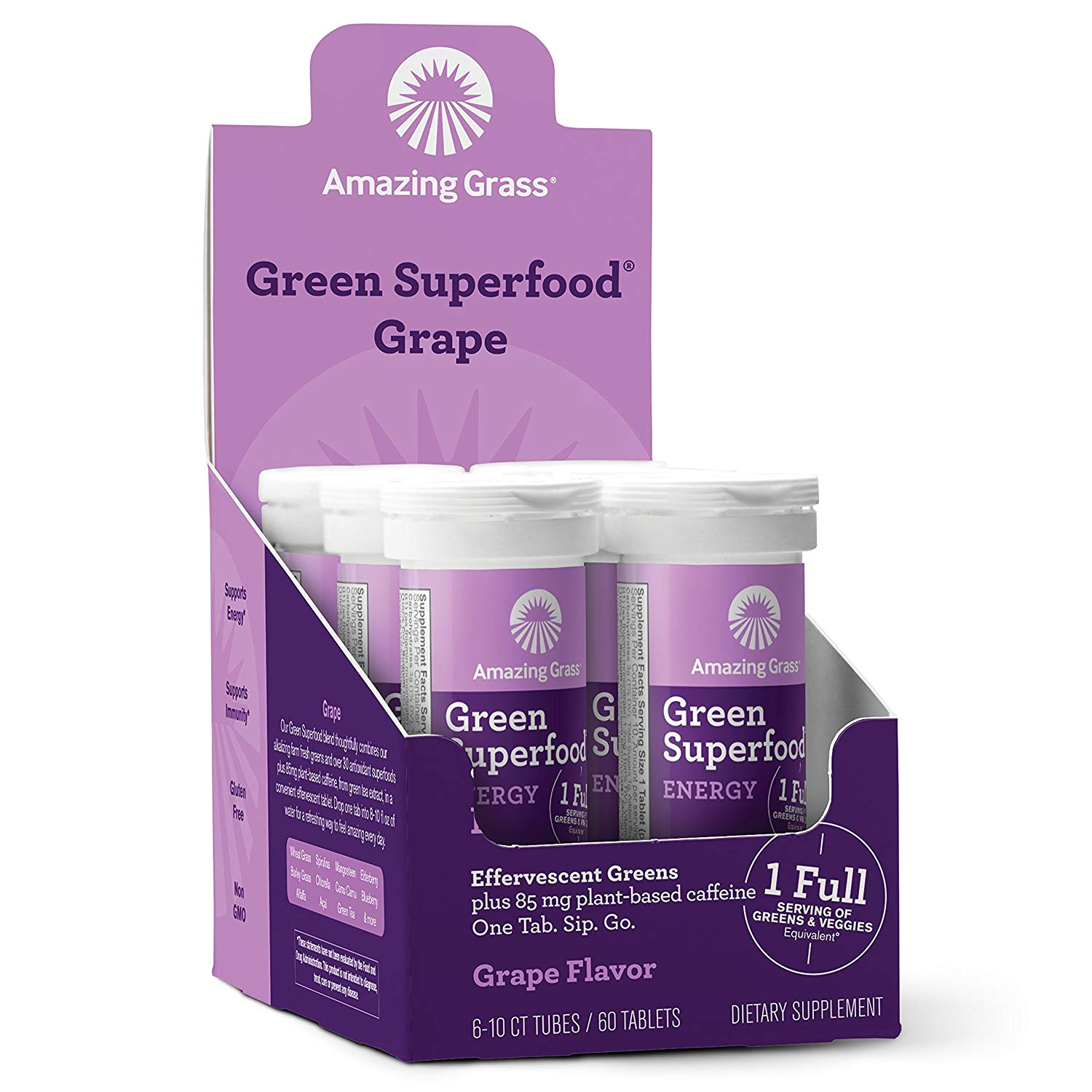 Amazing Grass Energy Green Superfood Effervescent Tablets, Grape, 60 Ct