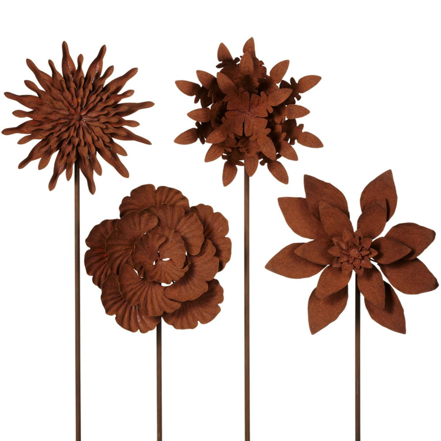 """Set of 4 Assorted Chocolate Brown Small Rusted Flower Yard Stake 27"""""""