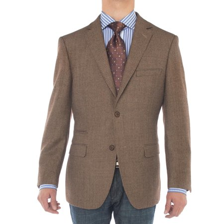 LN LUCIANO NATAZZI Mens Two Button 160'S Wool Blazer Working Buttonholes Jacket Brown - Mens Brown Beaver