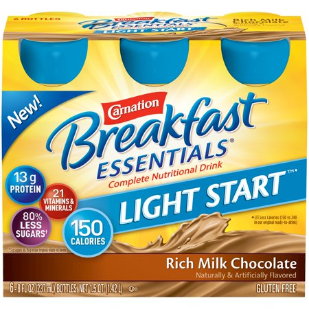 Carnation Breakfast Essentials Light Start, Rich Milk Chocolate, 8 fl. oz. Bottles, 6