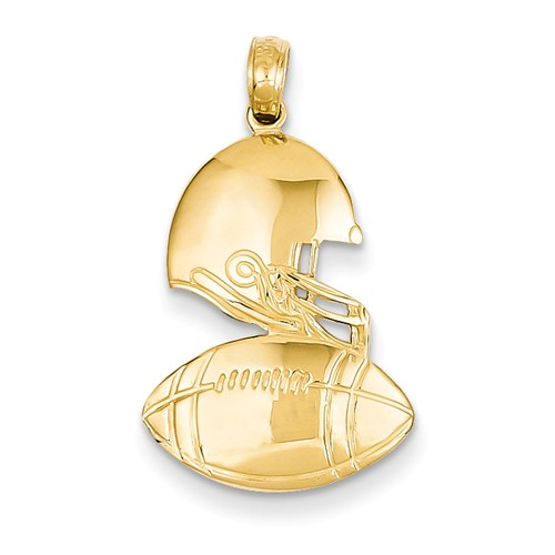 14k Yellow Gold Polished Football Pendant