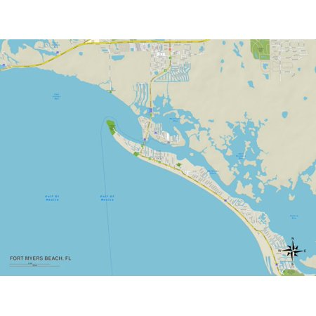 Political Map of Fort Myers Beach, FL Print Wall (The Hut Fort Myers Fl)