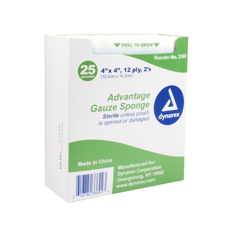 Gauze Sponge Advantage Cotton 12Ply 4 x 4 Inch Square Sterile Qty 25