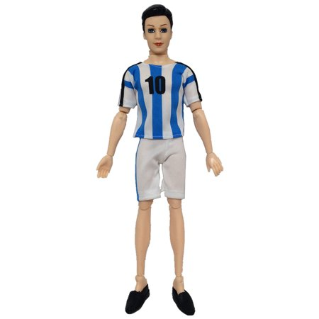 World Cup Male Footballer Dolls Clothes Doll Accessories Sports Socks + Pants+ Shirt for Ken Doll Color:Blue No. 10 (Top + Pants) Height:Footballer clothes without