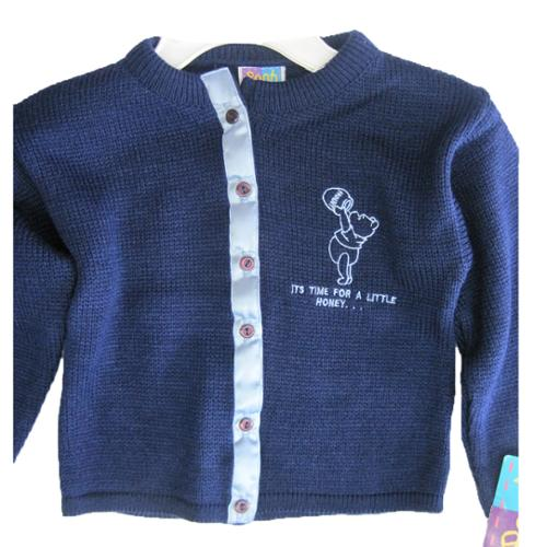 Disney Little Girls Navy Blue Winnie The Pooh Button Knit Sweater 4-6X