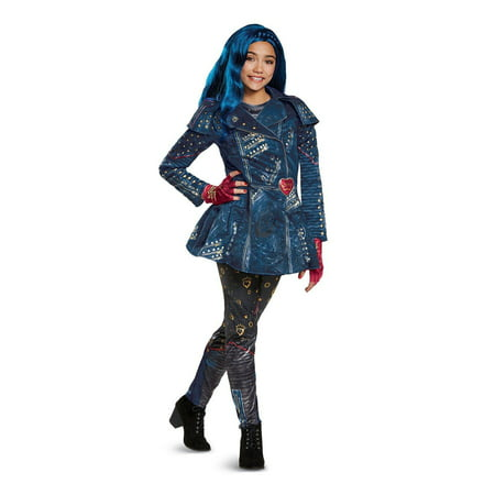 Descendants Evie Deluxe Isle Look Child Halloween Costume, One Size, L (10-12) - Blue Fairy Wings Costume