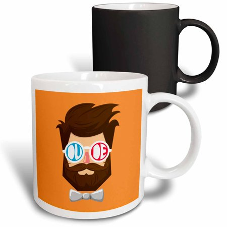 3dRose Dude - a dude with beard and mustache wearing goggles and bow tie - Magic Transforming Mug, 11-ounce - Dudes With Beards