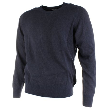 KIRKLAND SIGNATURE Mens Extra Fine Merino Wool and Pima Cotton Pullover Sweater (X-Large, Navy)