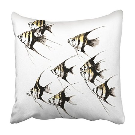 CMFUN Chinese Traditional Distinguished Gorgeous Hand Ink Magic Fish Angel Angelfish Pillowcase Cushion Cover 18x18 (Gorgeous Chinese Antique)