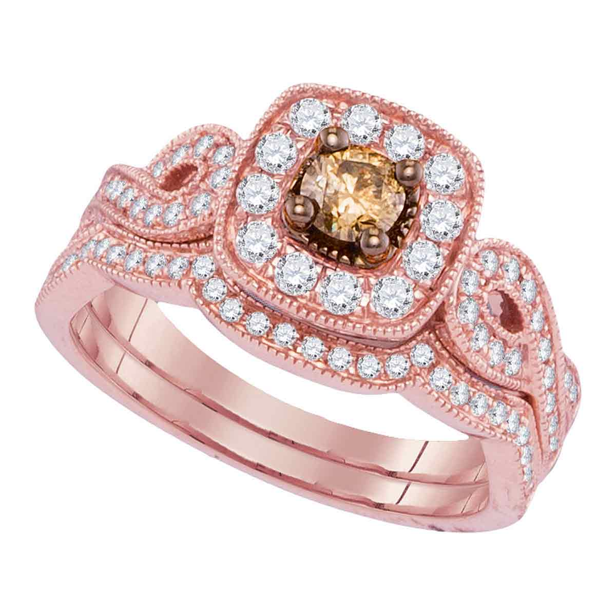 14kt Rose Gold Womens Round Cognac-brown Diamond Bridal Wedding ...