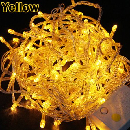 Perfect Holiday 8 Modes 100 LED String Christmas Wedding Fairy Lights Party with Tail Plug, 32-Feet, Yellow/Amber
