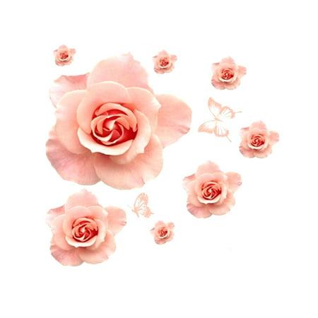 Unique Bargains DIY Rose Flower Pattern Removable Wall Decor Sticker Art Decal