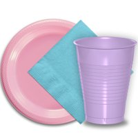 "50 Pink Plastic Plates (9""), 50 Lavender Plastic Cups (12 oz.), and 50 Light Blue Paper Napkins, Dazzelling Colored Disposable Party Supplies Tableware Set for Fifty Guests."