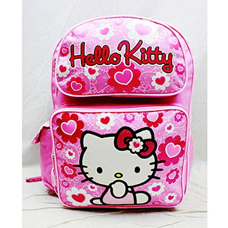 Hello Kitty Backpack Pink Flower Bow Large Girls School Bag New 84017 - image 1 of 3