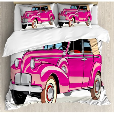 Cars Duvet Cover Set, Convertible Car Fifties Curved Edges Vintage Vehicle Vibrant Colored Automobile, Decorative Bedding Set with Pillow Shams, Hot Pink Peach, by Ambesonne