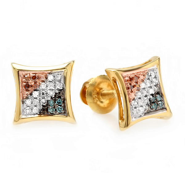 0.10 Carat (ctw) Blue, White & Red Round Diamond Micro Pave Setting Kite Shape Stud Earrings 1/10 CT