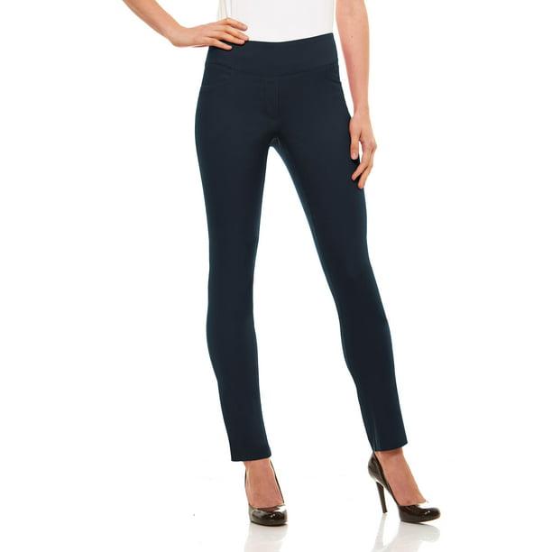 Womens Straight Leg Dress Pants - Stretch Slim Fit Pull On Style, Velucci, Indigo-S