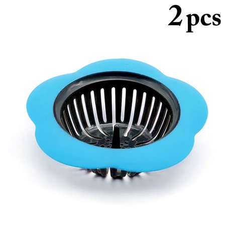 2Pcs Sink Strainers, Justdolife Flower Shape Anti-Clogged Plastic Mesh Strainer Baskets Stopper Drain Strainers for Kitchen Bathroom