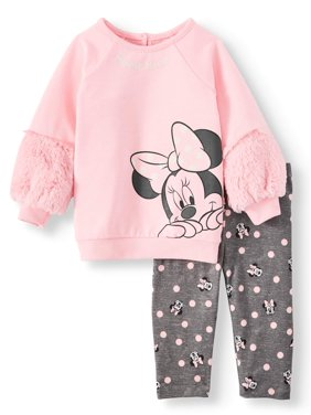 Minnie Mouse Baby Girls Long Sleeve Top and Leggings, 2-Piece Set