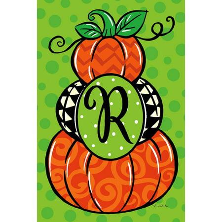 Custom Decor Garden Flag - Pumpkin Stack Monogram -