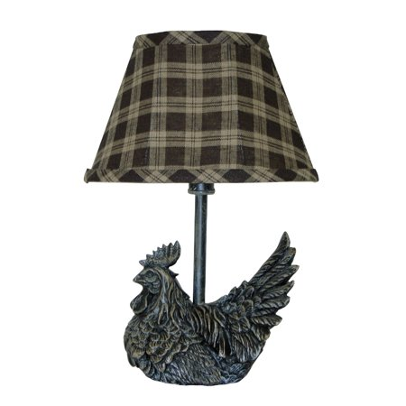 Set of 2 Country Rustic Black Farm Rooster Mini Accent Lamps with Plaid Shades