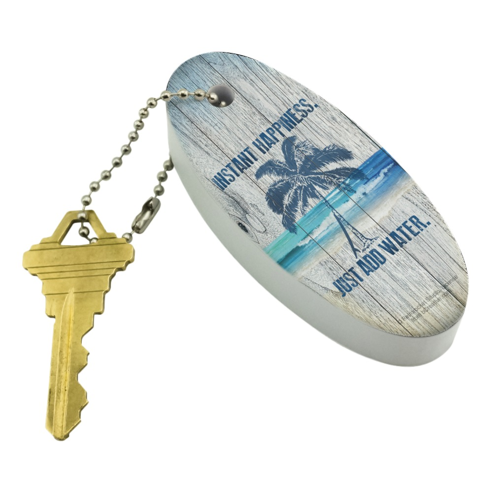 Graphics and More Instant Happiness Just Add Water Tropical Beach Floating Keychain Oval Foam Fishing Boat Buoy Key Float