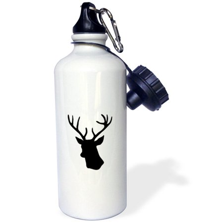 3dRose Black Deer head silhouette on white. Modern stag with antlers shadow, Sports Water Bottle, 21oz ()