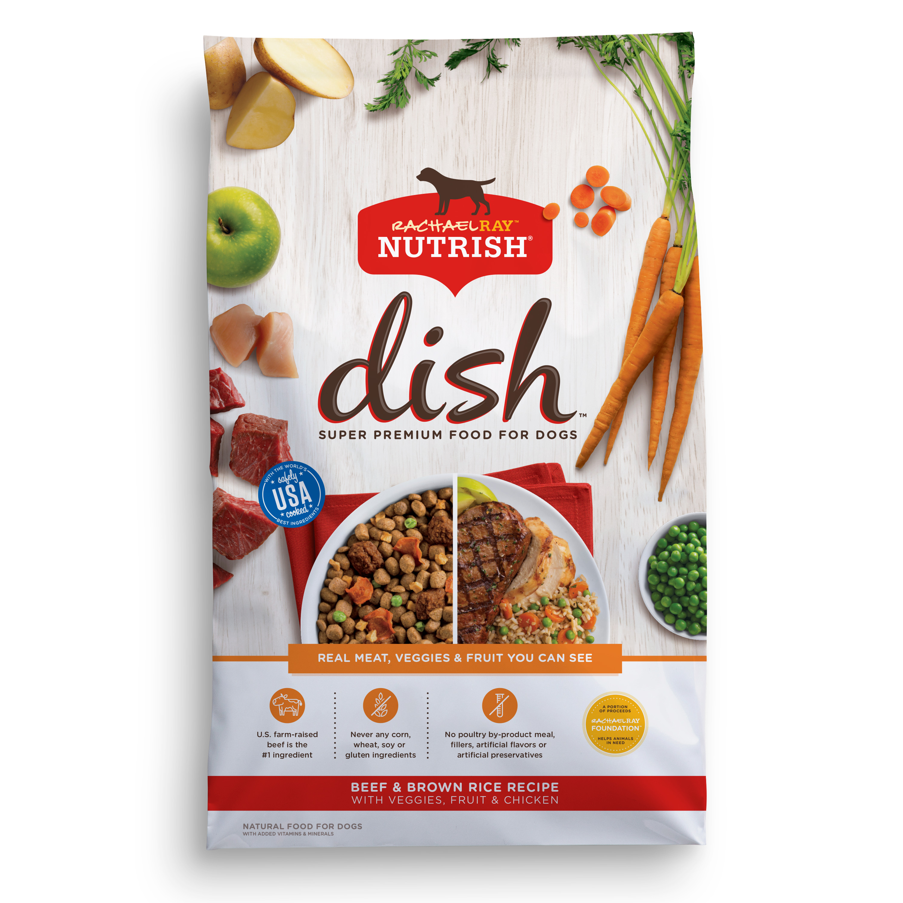 Rachael Ray Nutrish DISH Natural Dry Dog Food, Beef & Brown Rice Recipe with Veggies, Fruit & Chicken, 11.5 lbs