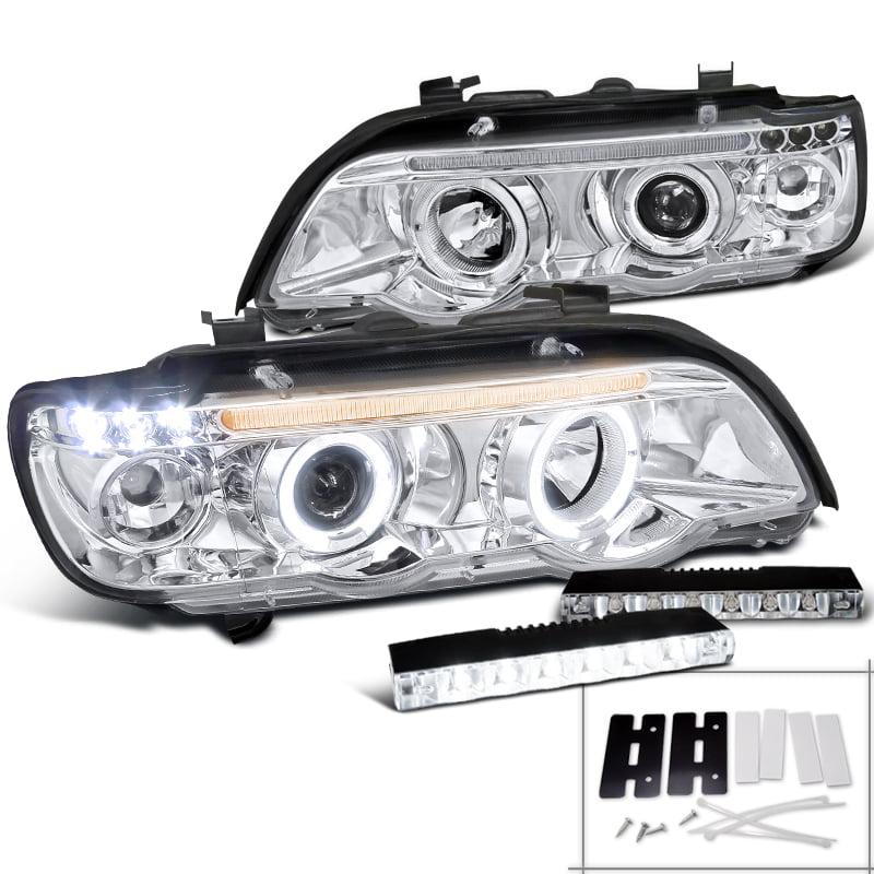 Spec-D Tuning 2001-2003 Bmw X5 Dual Halo Chrome Projector Headlight + Bumper Lights 6-Led Drl Fog Lights (Left + Right) 01 02 03