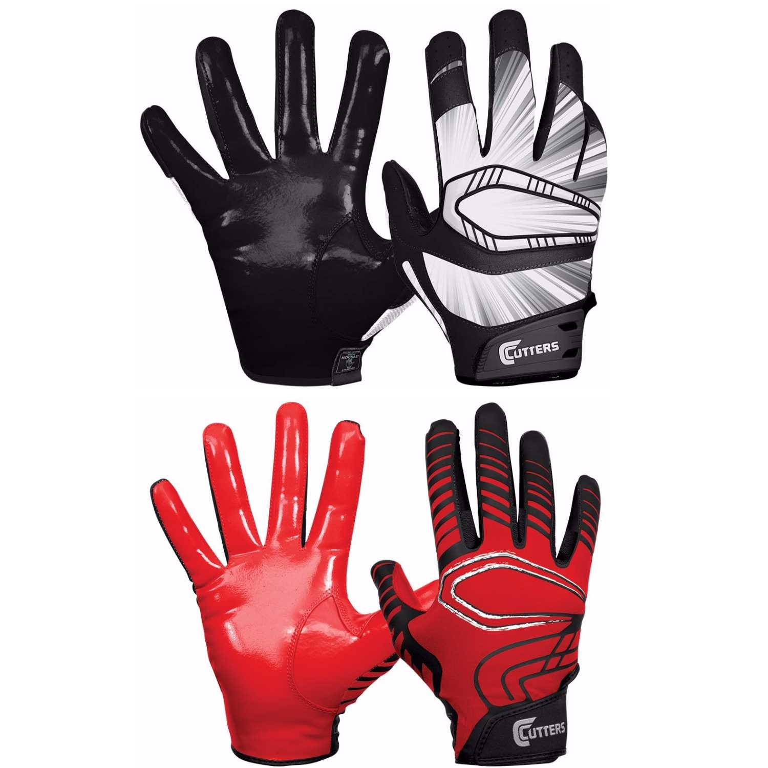 Cutters Gloves REV Pro Receiver Gloves (Black)  and Red Pair (Large) Bundle