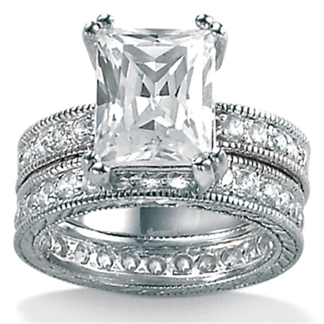 PalmBeach Jewelry 365076 5. 98 TCW Emerald-Cut Cubic Zirconia Sterling Silver Two-Piece Bridal Engagement Wedding Band