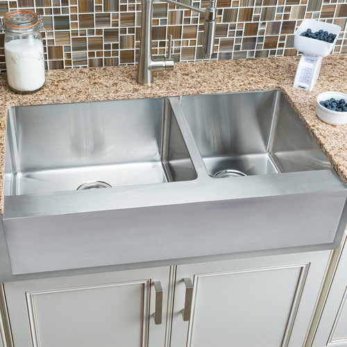 Hahn Notched 35.88'' L x 20.75'' W Single Bowl Farmhouse Kitchen Sink