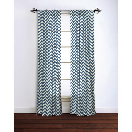 Rizzy Home Chevron Cotton Window Panel 42X95 in Navy Color