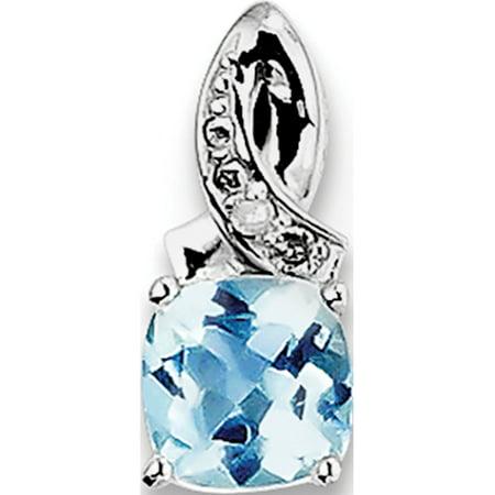 925 Sterling Silver Rhodium-plated Light Swiss Blue Topaz Diamond (5x13mm) Pendant / Charm - image 2 of 2
