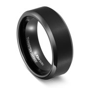 black tungsten rings for men 8mm matte finish wedding bands for him comfort fit 11 - Black Wedding Ring For Him